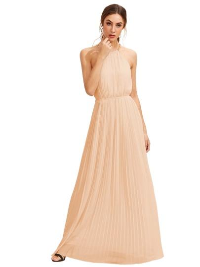 Chain Halterneck Full Length Dress