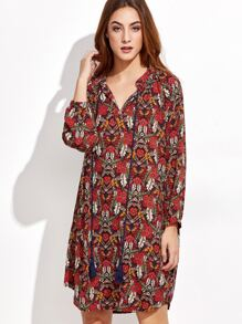 Florals Lace Up Shirt Dress