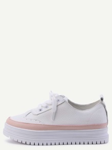 White Pebbled PU Lace Up Flatform Oxfords