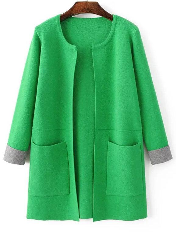 Green Contrast Cuff Pocket Long Cardigan sweater160903216