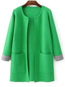 Green Contrast Cuff Pocket Long Cardigan