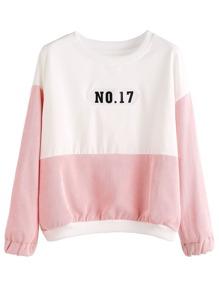 Color Block Numbers Patch Sweatshirt