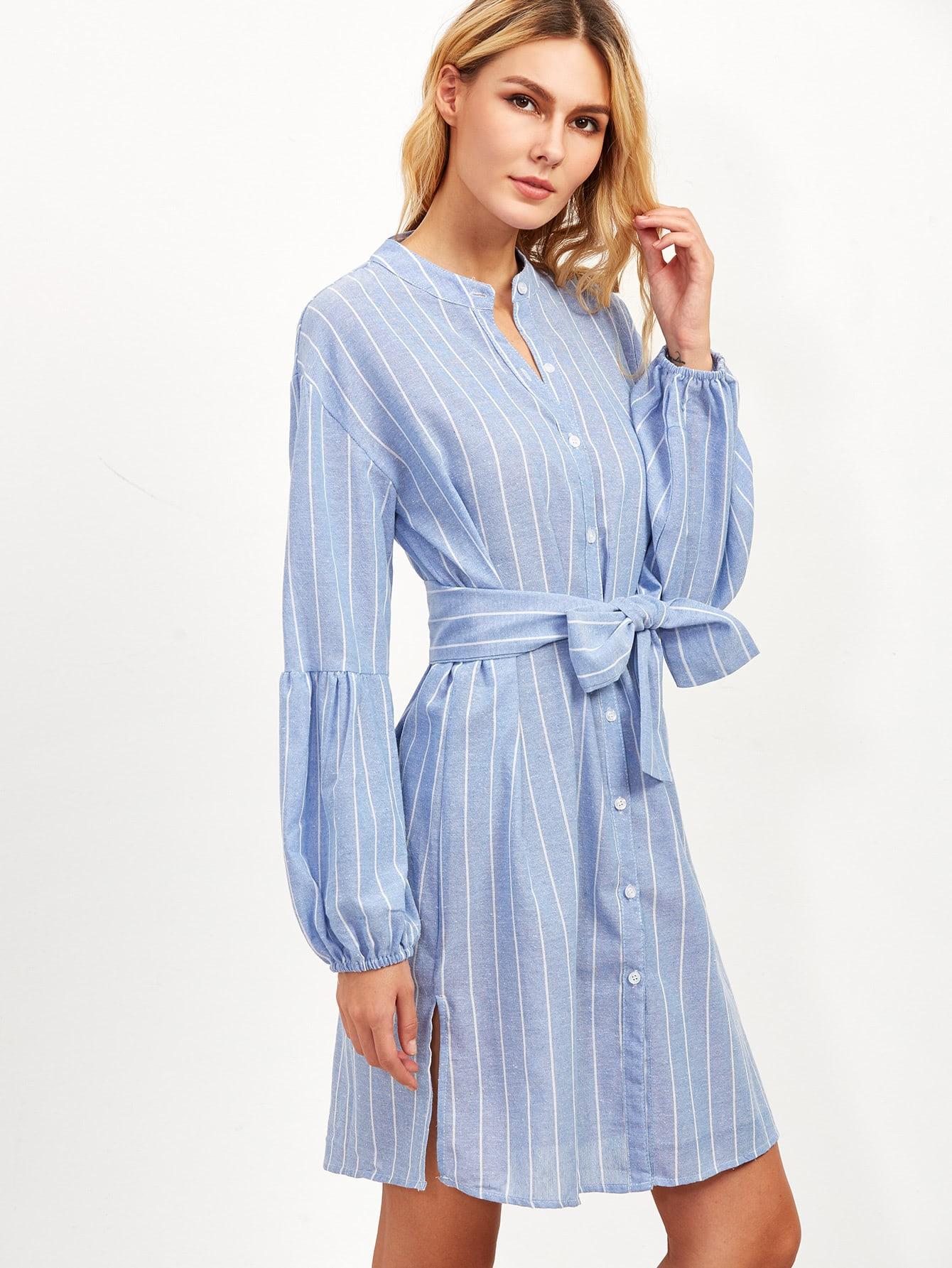 Blue Vertical Striped Lantern Sleeve Belted Shirt DressBlue Vertical Striped Lantern Sleeve Belted Shirt Dress<br><br>color: Blue<br>size: L,M,S
