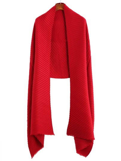 Red Ribbed Raw Edge Scarf