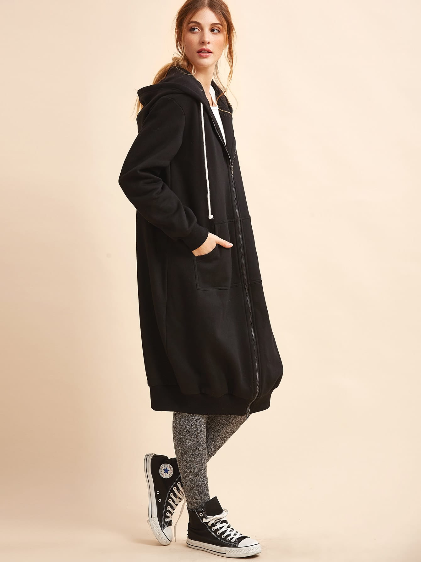 Black Hooded Zipper Long Sweatshirt With Pockets