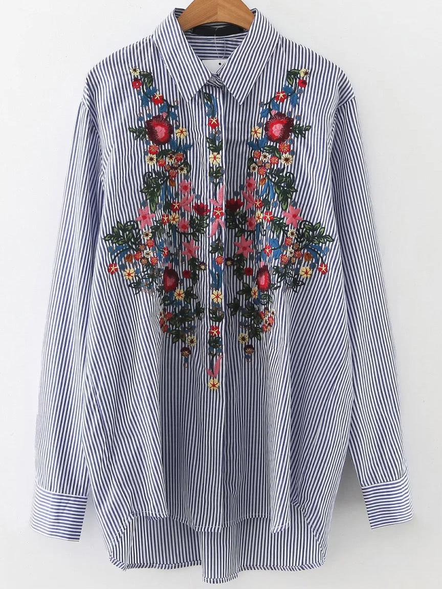 Фото Vertical Striped Embroidery Dip Hem Shirt. Купить с доставкой