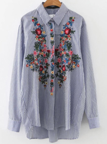 Vertical Striped Embroidery Dip Hem Shirt