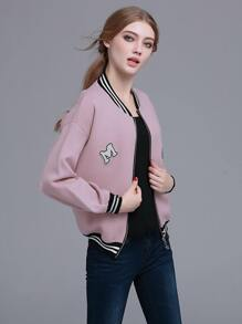 Pink Striped Trim Patch Lantern Sleeve Jacket