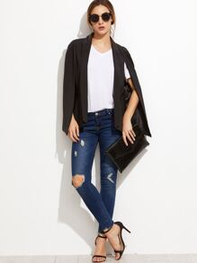 Black Shawl Collar Cape Blazer