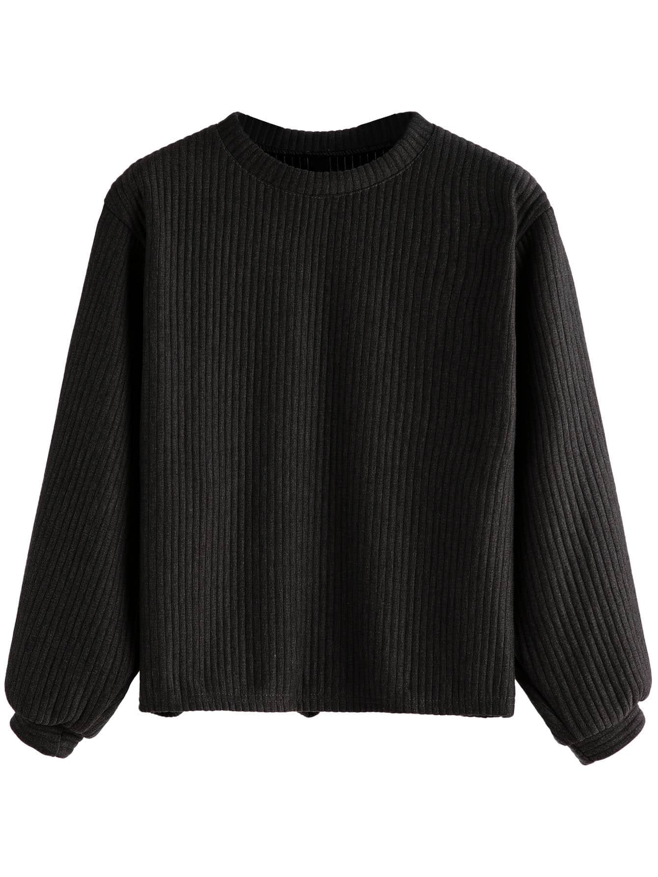 Black Long Sleeve Ribbed Sweatshirt sweatshirt160926103