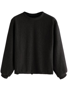 Black Long Sleeve Ribbed Sweatshirt