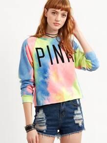 Multicolor Pastel Tie Dye Print Sweatshirt