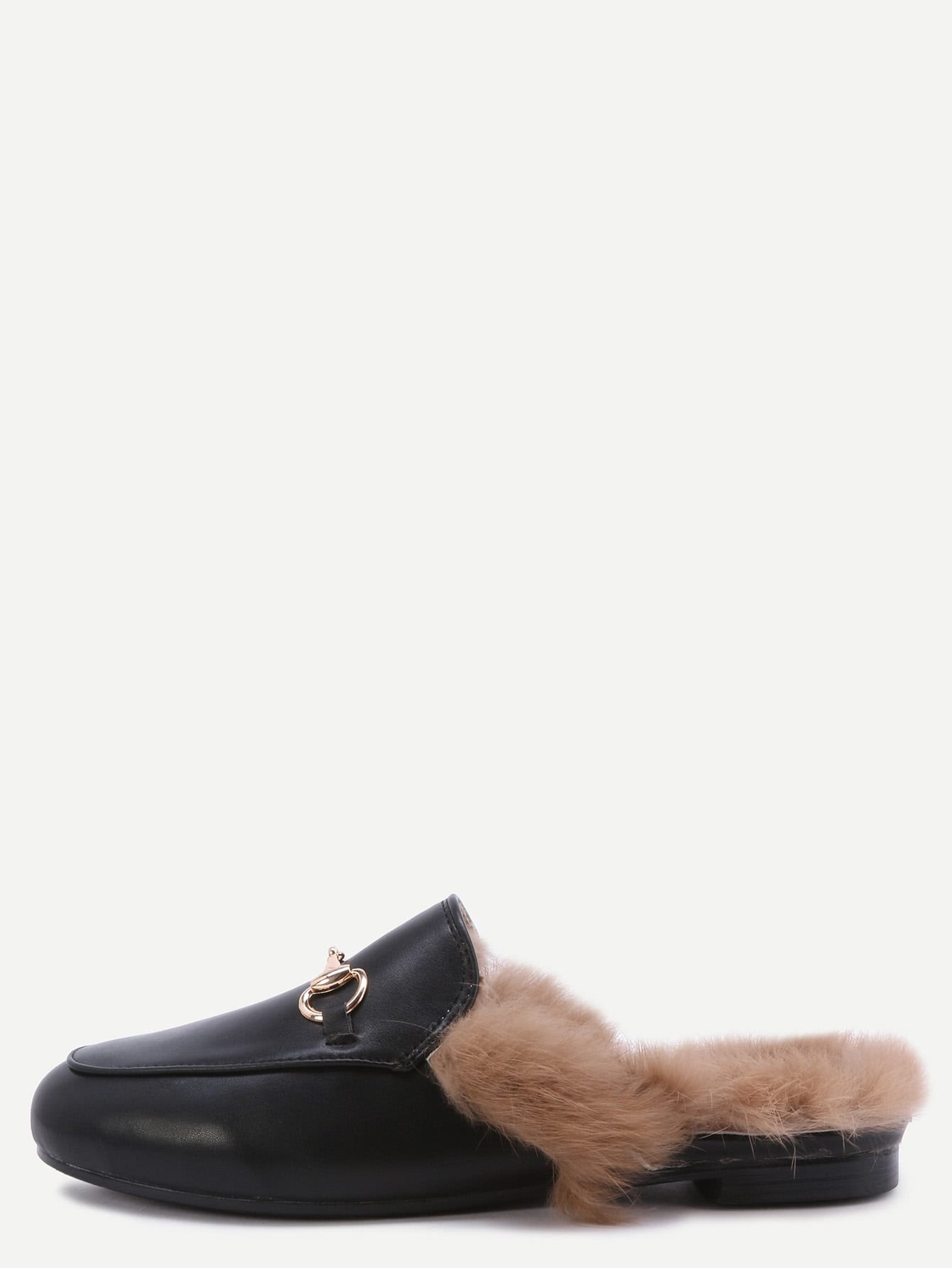 Image of Black Faux Leather Fur Lined Slippers