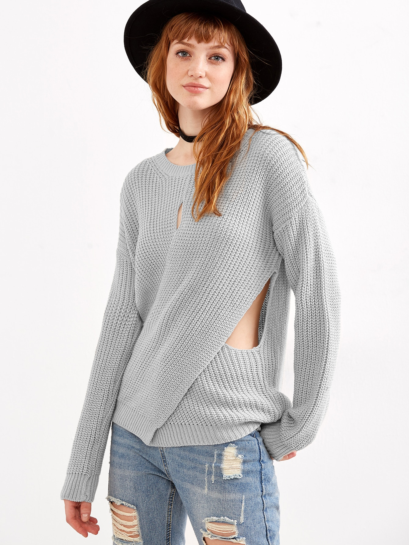 Grey Drop Shoulder Crossover SweaterGrey Drop Shoulder Crossover Sweater<br><br>color: Grey<br>size: one-size