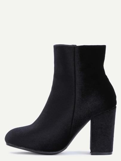 Black Velvet Chunky Heel Boots