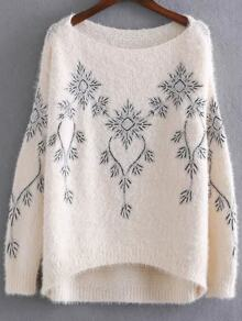 Apricot Embroidery Boat Neck High Low Sweater