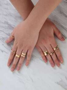 Stacked Glitter Ring Set GOLD