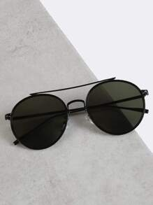 Round Crossbar Sunglasses BLACK