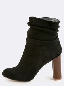 Slouchy Stacked Heel Ankle Boots BLACK