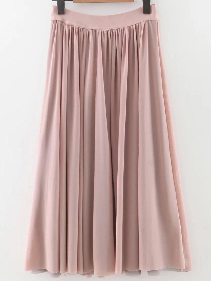 Pink Pleated Elastic Waist Midi SkirtPink Pleated Elastic Waist Midi Skirt<br><br>color: Pink<br>size: L,M,S