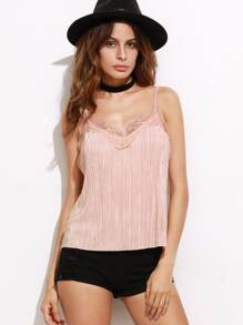 Pink Lace Trim Pleated Cami Top
