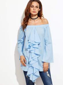 Blue Ruffle Front Off The Shoulder Top