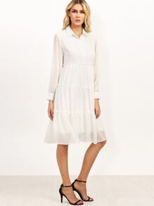 White Dotted Tiered Shirt Dress