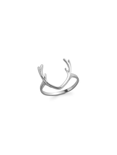 Silver Plated Antler Design Ring