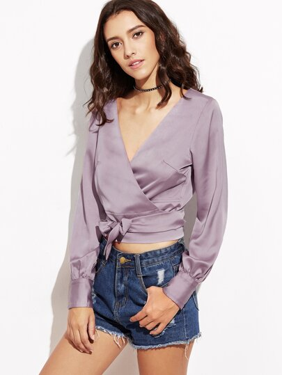 Purple Self Tie Crop Satin Wrap Blouse