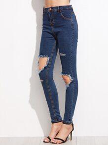 Blue Distressed Denim Jeans