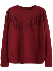 Burgundy Tassel Trim Sweatshirt