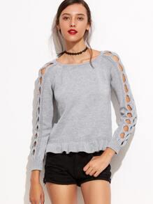 Grey Lattice Sleeve Peplum Sweater
