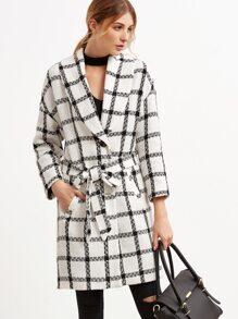 Shawl Collar Plaid Belt Coat