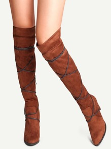 Brown Point Toe Tie Back Fold Over Boots