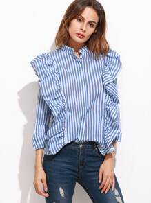Blue Vertical Striped Hidden Button Ruffle Blouse