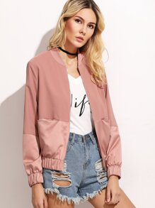 Two Tone Zip Up Cut And Sew Bomber Jacket