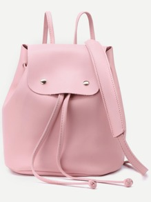 Pink Faux Leather Drawstring Flap Backpack With Clutch