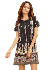 Pink In Black Aztec Print Shift Dress