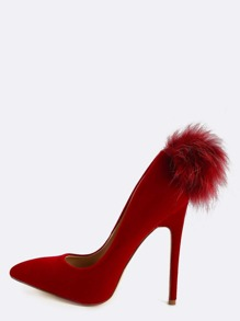 Pom Pom Stiletto Pumps MAROON