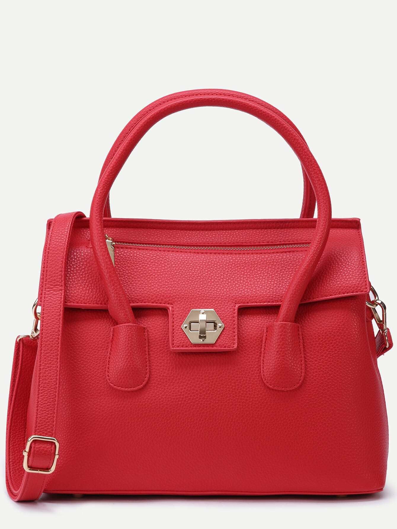 Red Pebbled PU Flap Handbag With Strap Image