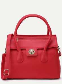 Red Pebbled PU Flap Handbag With Strap