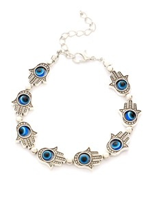 Silver Beaded Hamsa Hand Bracelet