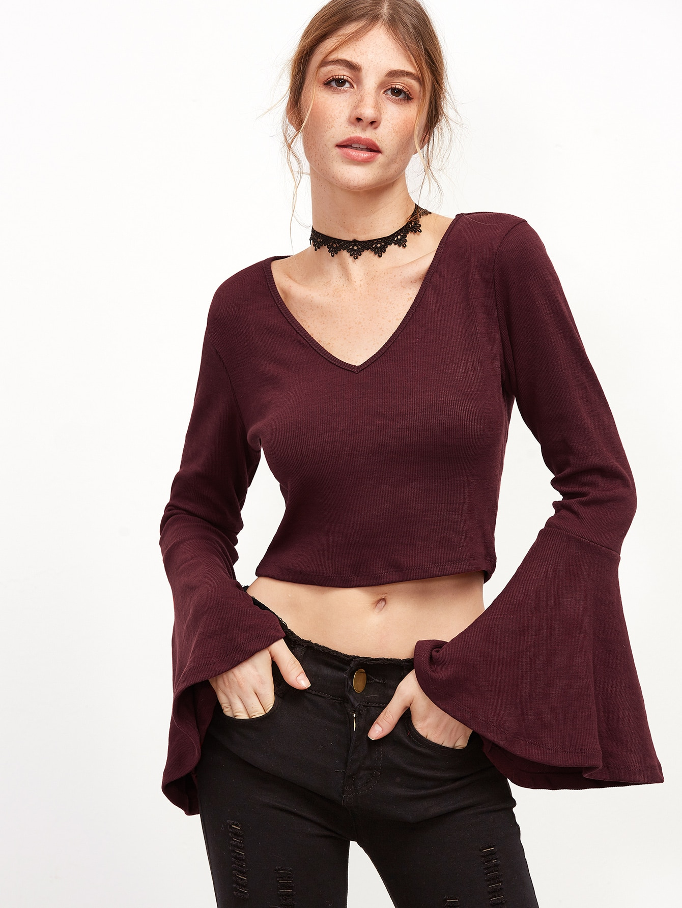Burgundy V Neck Bell Sleeve T Shirt Shein Sheinside