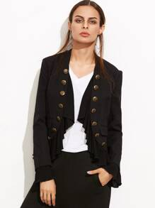 Black Ruffle Trim Double Breasted Curved Blazer