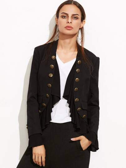 Frill Trim Double Breasted Curved Blazer