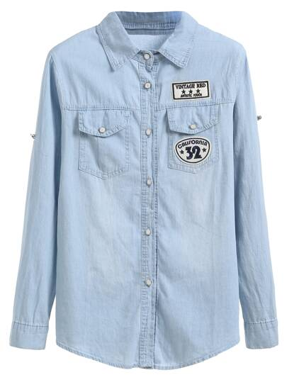 Blue Embroidered Patch Buttons Denim Shirt