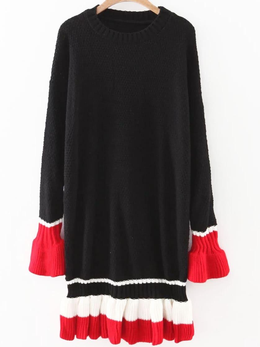 Фото Black Color Block Bell Sleeve Ruffle Hem Sweater Dress. Купить с доставкой