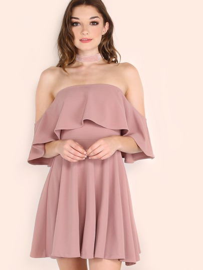 Pink Off The Shoulder Skater Dress