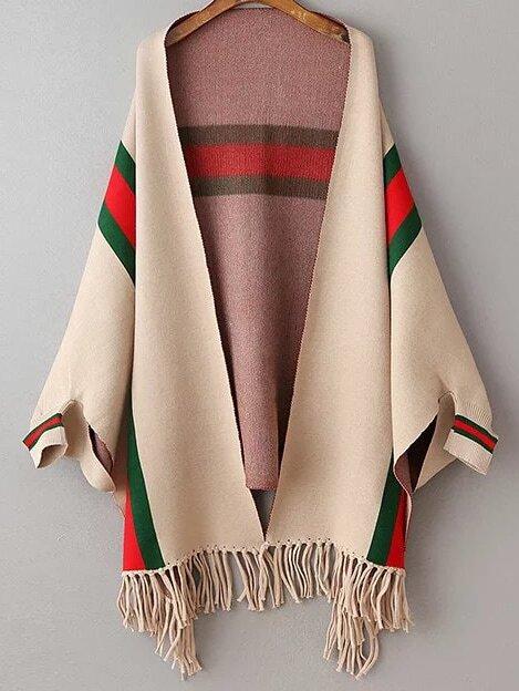 Khaki Color Block Fringe Hem Poncho Sweater sweater160928211