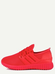 Red Mesh Lace Up Sneakers